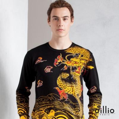 oillio歐洲貴族 男裝 長袖頂級天絲棉圓領針織線衫 純棉布料修身款式 舒適超柔 霸氣金龍圖騰 黑色