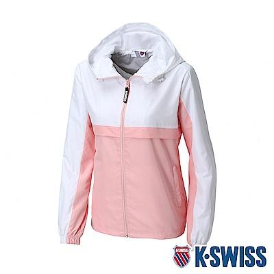 K-SWISS Contrast Track Jacket抗UV風衣外套-女-白/粉紅