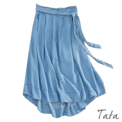 前短後長拉鍊半身裙(附綁帶) TATA-F
