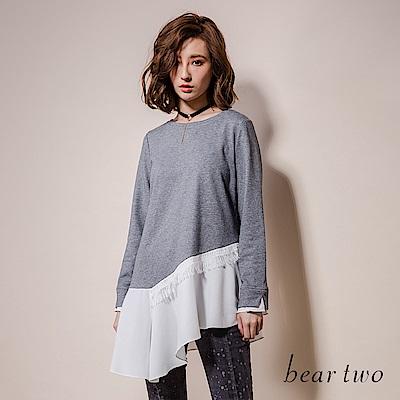 beartwo 民俗風流蘇拼接斜邊長版上衣(二色)
