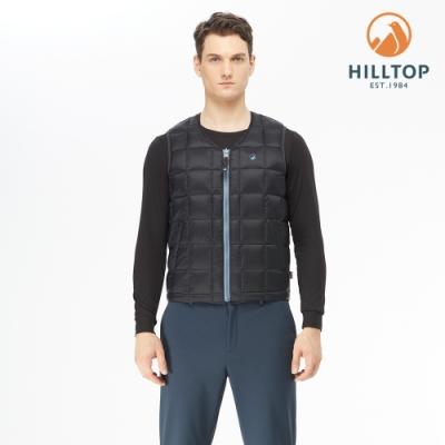 【hilltop山頂鳥】男款超潑水雙面穿蓄熱羽絨背心F25MG1海底藍 /烏雲灰