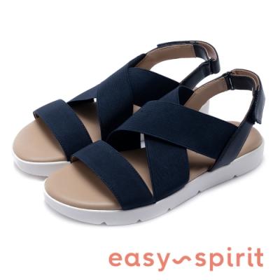 Easy Spirit seDAMARIS2-A 拼接寬束帶後繫帶低跟涼鞋-藍色