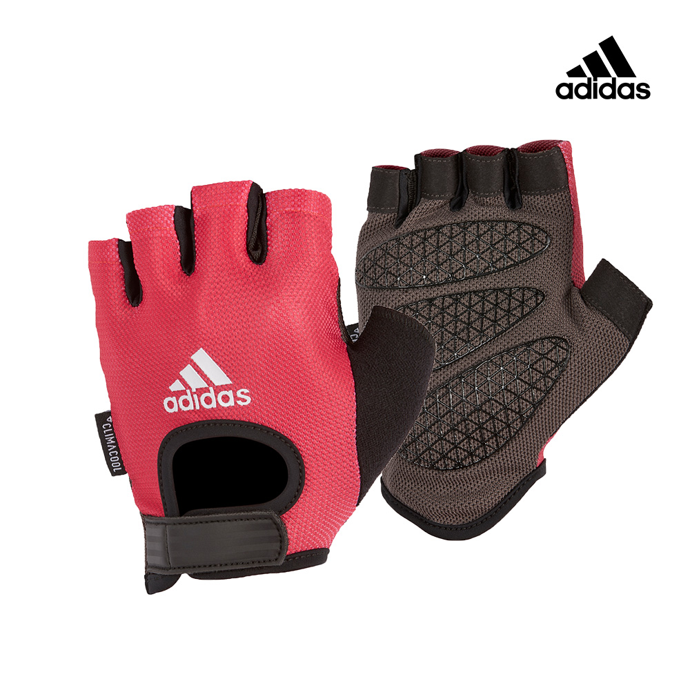 Adidas Training 女用彈性半指手套(綻放粉)