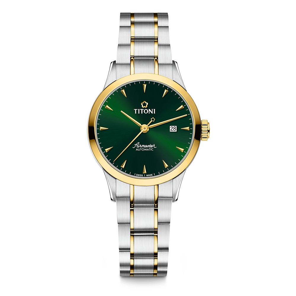 TITONI瑞士梅花錶 空中霸王系列機械女錶(23733 SY-673)-綠面半金鍊帶/29mm