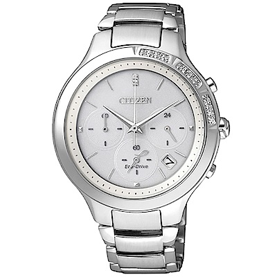 CITIZEN Eco-Drive (FB4000-53A)晶鑽計時女錶 白/38mm
