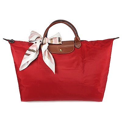 Longchamp 折疊大型水餃包(短提把/紅色)-送帕巾