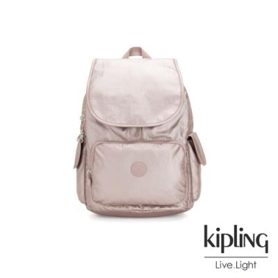 Kipling 嬌柔玫瑰金色拉鍊掀蓋後背包-CITY PACK