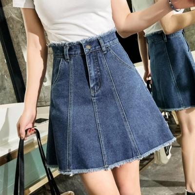 裙頭毛邊線條感牛仔短裙S-5XL-KVOLL