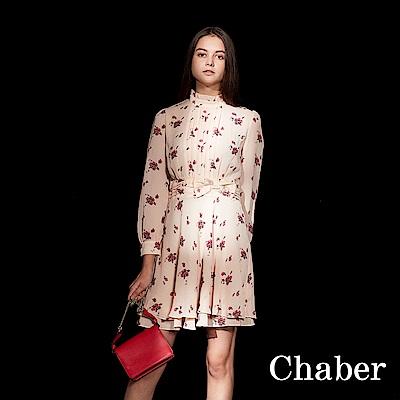 Chaber巧帛 立領荷葉碎花印花粉長袖洋裝