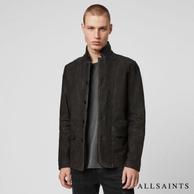 ALLSAINTS SURVEY  皮革補丁絨面羊皮皮衣夾克-深灰黑