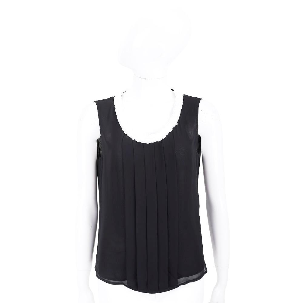 EDWARD ACHOUR PARIS 打摺設計黑色雪紡背心上衣