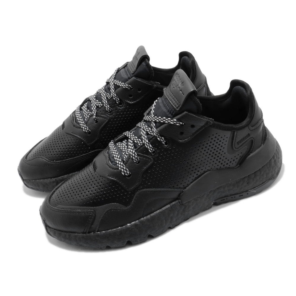 adidas 休閒鞋 Nite Jogger 流行款 男鞋 海外限定 愛迪達 三葉草 反光 穿搭 黑 白 EF5400