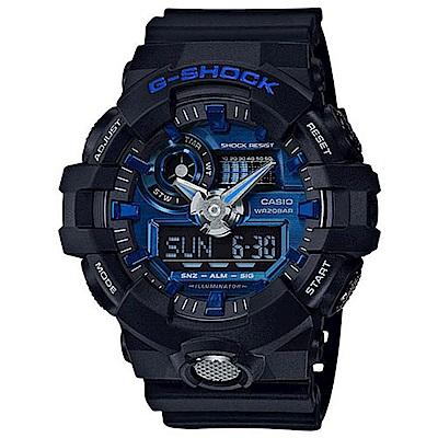 G-SHOCK創新突破金屬感強悍視覺休閒錶(GA-710-1A2)/金屬藍面53.4mm