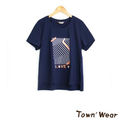 【TOWNWEAR棠葳】休閒幾何印花純棉T-shirt