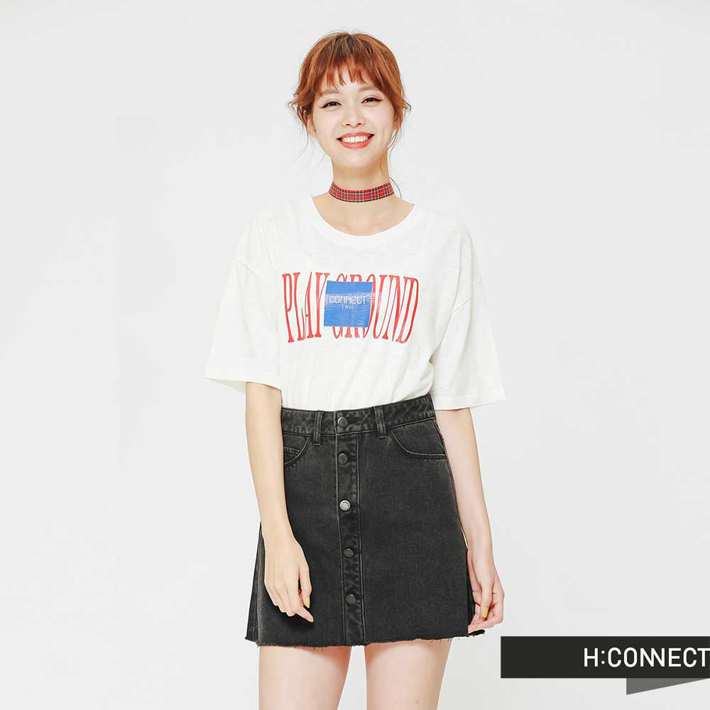 H:CONNECT 韓國品牌 女裝 - 拼貼感印字圓領T-Shirt-白(快)
