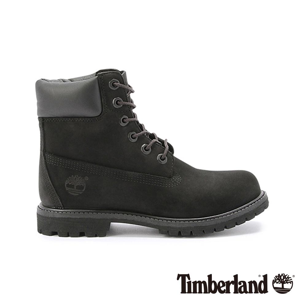 Timberland 女款黑色絨面厚領綁帶防水6吋靴