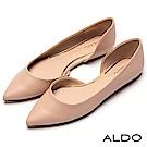 ALDO 原色不對稱金邊真皮鞋墊尖頭粗跟便鞋~氣質裸色