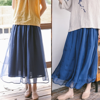100桑蠶絲苧麻雙面穿中長真絲棉麻大襬裙-設計所在