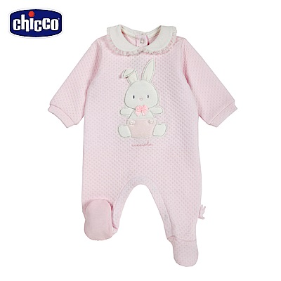chicco-糖果兔系列-夾棉荷葉領後開兔裝-粉(3-12個月)