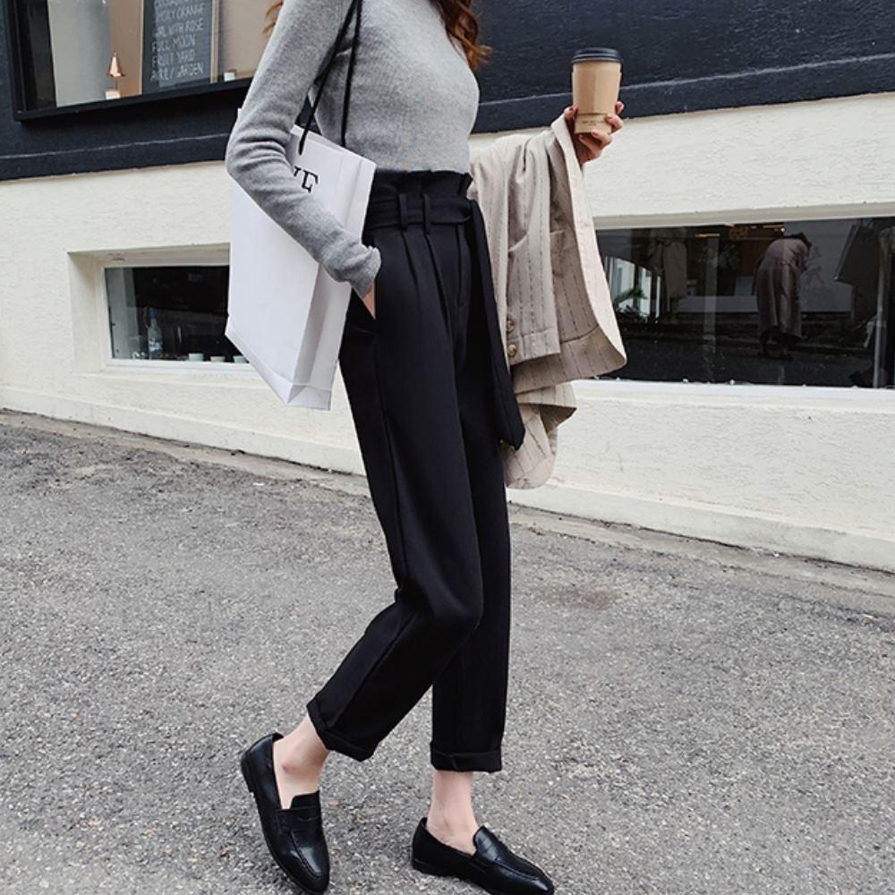 La Belleza高腰花苞荷葉鬆緊腰附綁帶西裝褲老爺褲