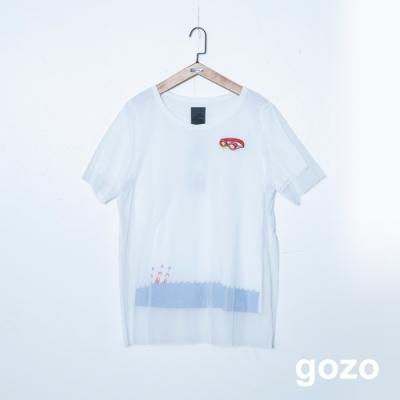 gozo 雙層網紗造型印花短袖上衣(二色)