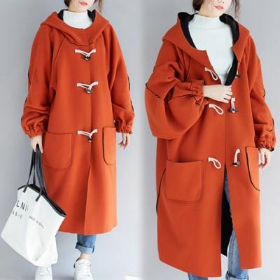 【韓國K.W.】雙面穿搭魅力學院牛角扣大衣-1色