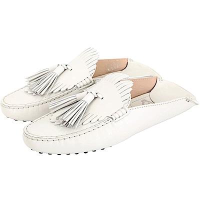TOD'S Gommino 流蘇拖鞋式牛皮豆豆穆勒鞋(女款/白色)
