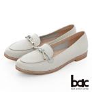 【bac】週末輕旅行 - 柔和色調壓紋飾釦牛津鞋-淺灰