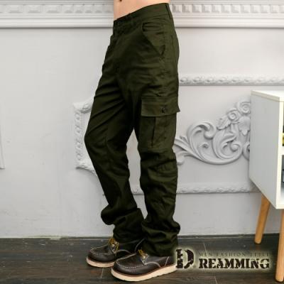Dreamming 美式布標百搭伸縮休閒工作長褲-軍綠