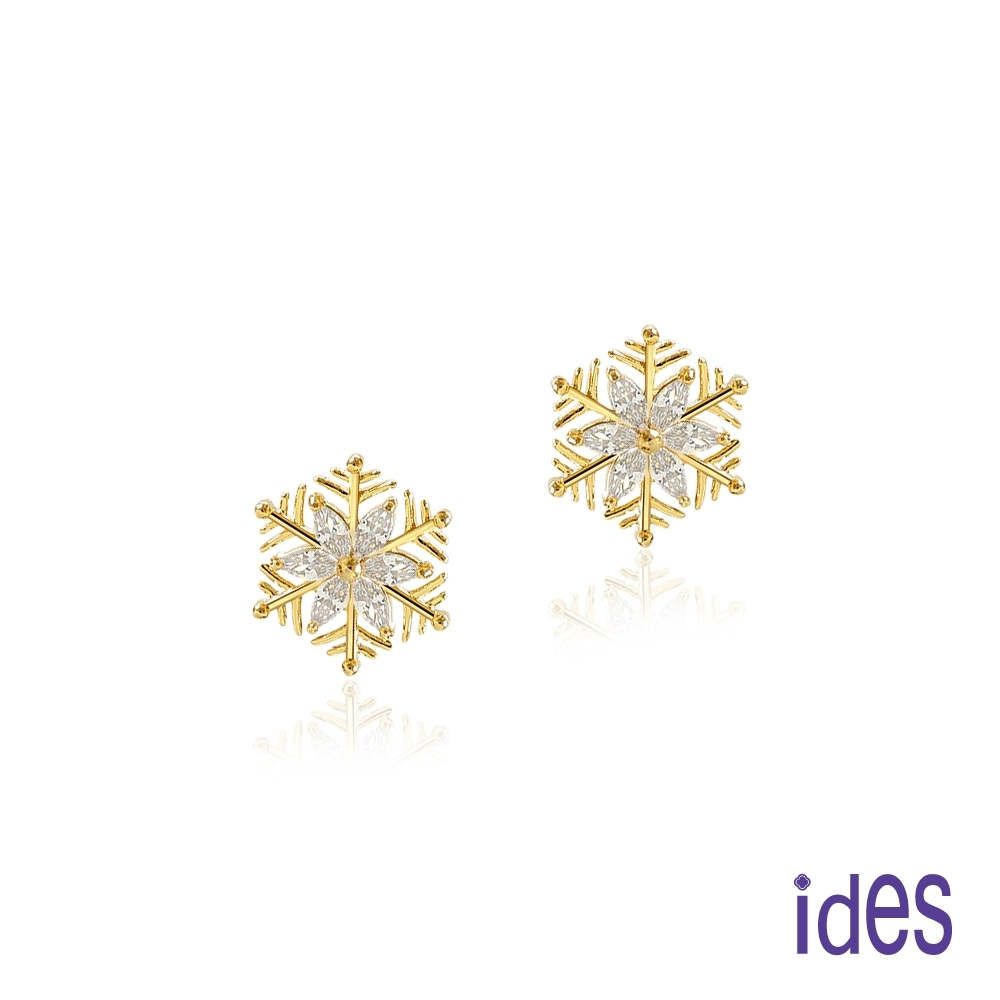 ides愛蒂思 日韓時尚設計純銀晶鑽耳環/雪花