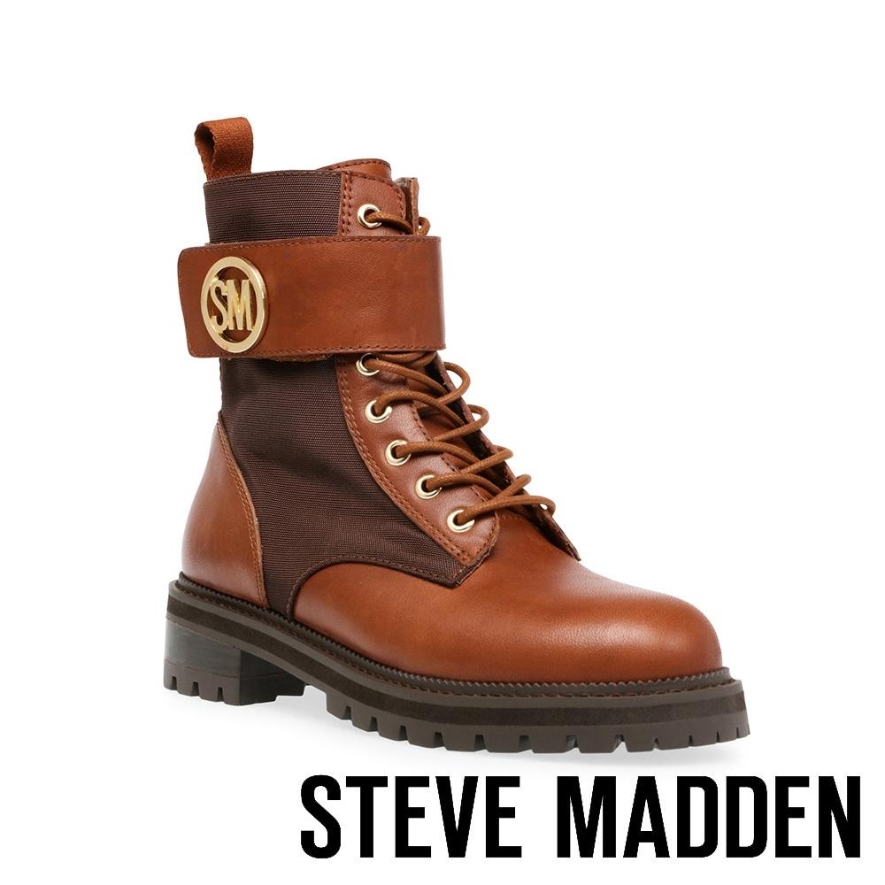 STEVE MADDEN-TRACKSTER 品牌LOGO造型綁帶中筒靴-咖啡色