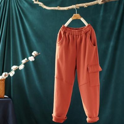 單側口袋加絨衛褲寬鬆鬆緊腰運動長褲-設計所在
