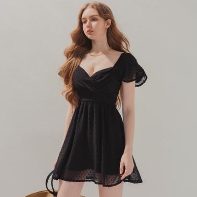 AIR SPACE 甜美層次袖點點雪紡短洋裝(黑)