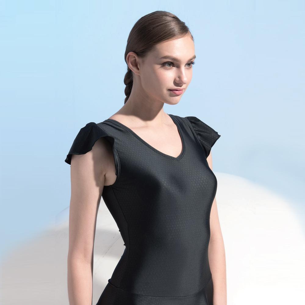 Dione 狄歐妮  泳裝 有袖連身平口褲裝 性感黑(附帽M-L)