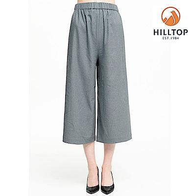 【hilltop山頂鳥】女款超潑水抗UV高腰寬口七分褲S07FH5灰綠