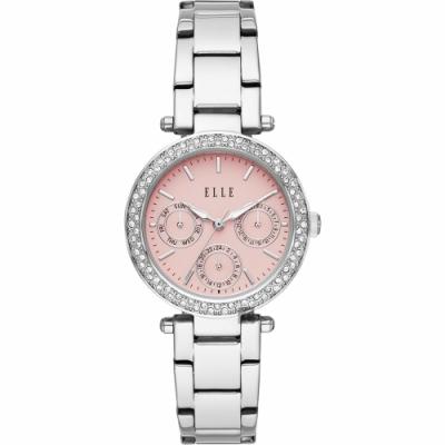 ELLE Marais 系列晶鑽日曆時尚女錶-粉x銀x33mm ELL23005