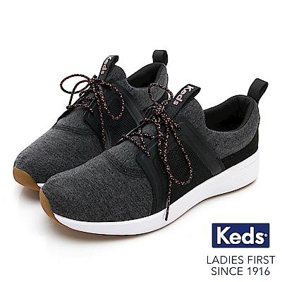 Keds STUDIO FLAIR 完美包覆綁帶輕量休閒鞋-炭黑
