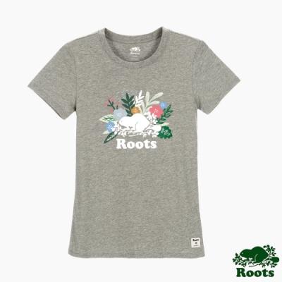 Roots女裝- 花卉海狸修身短袖T恤-灰色
