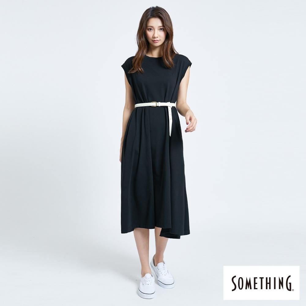 SOMETHING 素面洋裝式 長版T恤-女-黑色