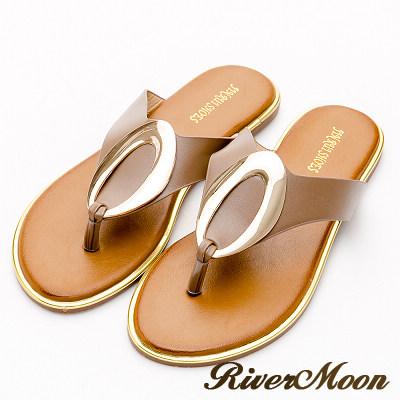 River&Moon中大尺碼-金屬橢圓夾腳飾金邊涼拖鞋-卡其灰