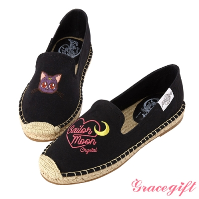 Grace gift-美少女戰士不對稱圖案麻編鞋 黑