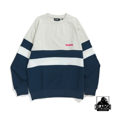 XLARGE PANELED CREWNECK SWEAT大學T-銀灰
