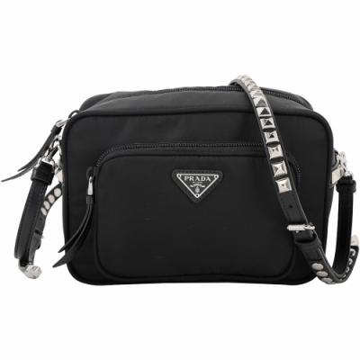 PRADA 銀鉚釘皮革背帶尼龍肩背/斜背相機包(黑色)
