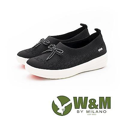 W&M 飛線系列 免綁帶蝴蝶結彈力休閒 女鞋-黑(另有淺藍、白)