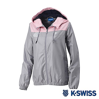 K-Swiss Caontrst Top Panel Windbreaker-女-灰