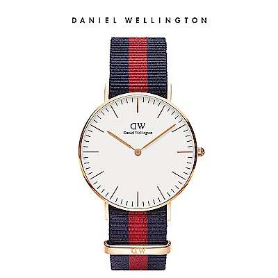 DW 手錶 官方旗艦店 36mm玫瑰金框 Classic 經典藍紅織紋錶