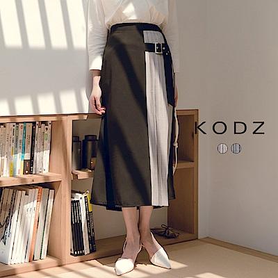 東京著衣-KODZ 歐膩質感拼接百褶金屬釦長裙-S.M.L(共兩色)