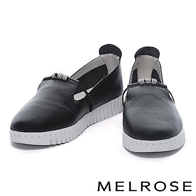 休閒鞋 MELROSE 簡約率性璀璨白鑽串珠全真皮厚底休閒鞋-黑