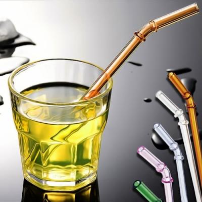 EZlife高硼硅竹節彎頭環保玻璃吸管10入組(贈把手咖啡保溫杯)