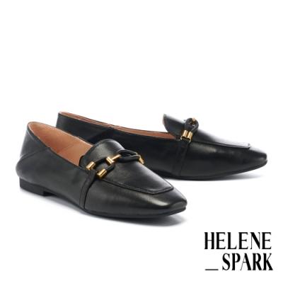 低跟鞋 HELENE SPARK 都會時尚金屬飾帶全真皮樂福低跟鞋-黑